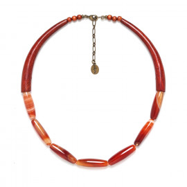 necklace red agate and sibucao Impala - Nature Bijoux