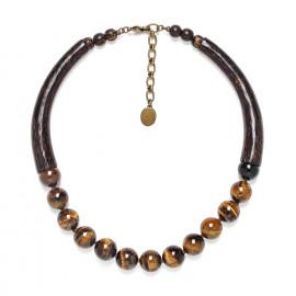 necklace tiger eye and palmwood Impala - Nature Bijoux