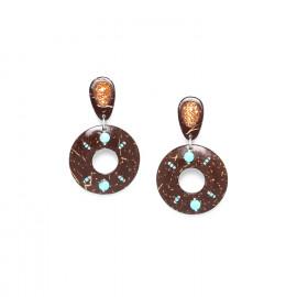 boucles d'oreilles clips noix de coco et coquillage Maracaibo - Nature Bijoux