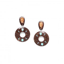 clip earrings coconut and shell Maracaibo - Nature Bijoux