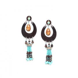 boucles d'oreilles longues noix de coco pampille howlite et coquillage Maracaibo - Nature Bijoux