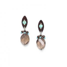 boucles d'oreilles quartz fumé top noix de coco et howlite Maracaibo - Nature Bijoux