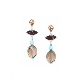 boucles d'oreilles longues quartz fumé et noix de coco Maracaibo - Nature Bijoux