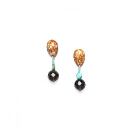 small earrings smocky quartz and shell top Maracaibo - Nature Bijoux