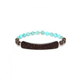 bracelet extensible élément noix de coco et quartz fumé Maracaibo - Nature Bijoux