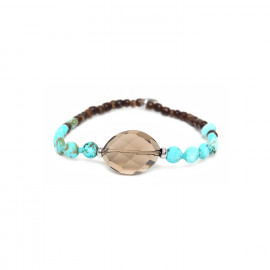 stretch bracelet smocky quartz element and coconut beads Maracaibo - Nature Bijoux