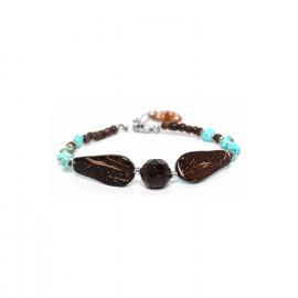 bracelet 2 gouttes noix de coco et quartz fumé Maracaibo - Nature Bijoux