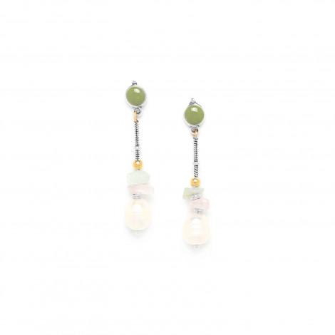 earrings amazonite pink quartz and pearl Rock & pearl