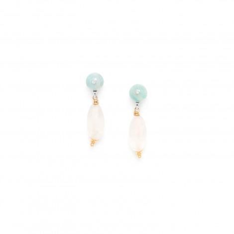 small rock crystal earrings amazonite top Rock & pearl