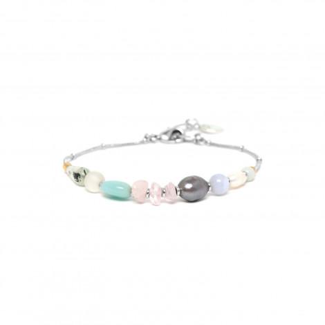 silver bracelet pink quartz and pearl Rock & pearl