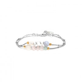 silver bracelet 2 rows pink quartz and pearl Rock & pearl - Nature Bijoux