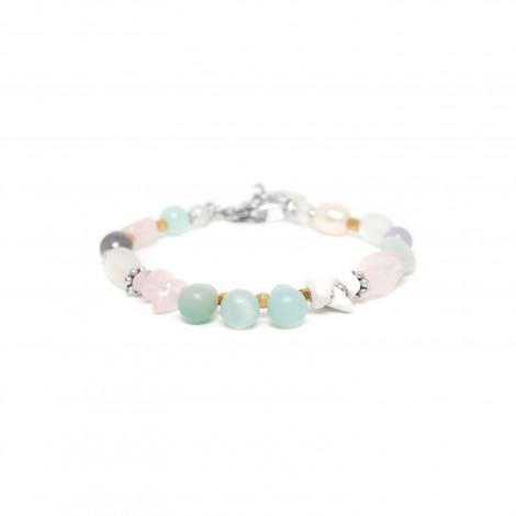 bracelet golden beads amazonite and pink quartz Rock & pearl