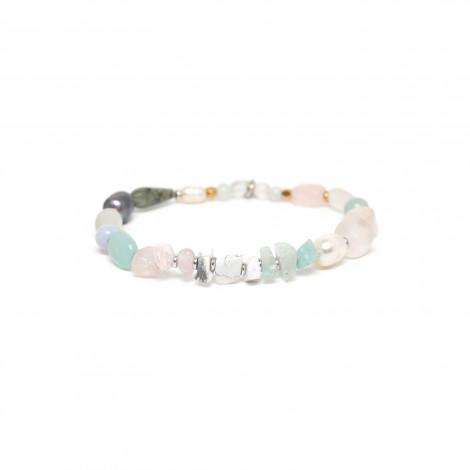 stretch bracelet golden beads amazonite and pink quartz Rock & pearl