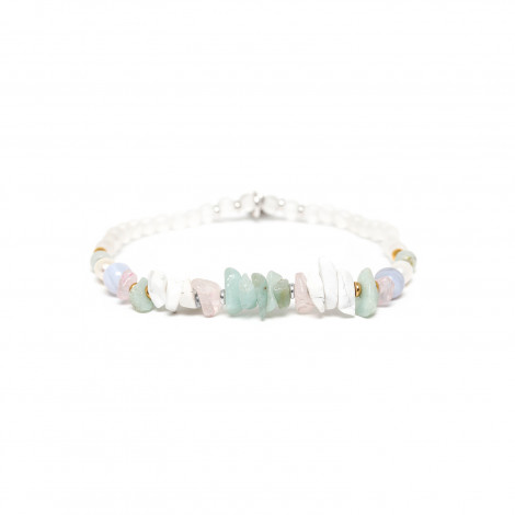 stretch bracelet amazonite and rock crystal Rock & pearl