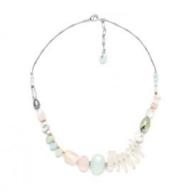 necklace rock crystal amazonite and pink quartz Rock & pearl - Nature Bijoux