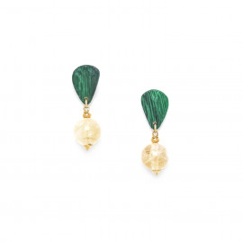 round citrine earrings Wild leaves - Nature Bijoux