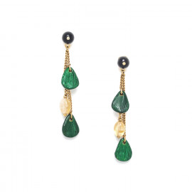 3 chains earrings Wild leaves - Nature Bijoux