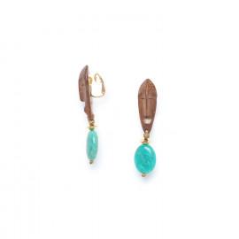 boucles d'oreilles clips dorées amazonite et bois Yoruba - Nature Bijoux