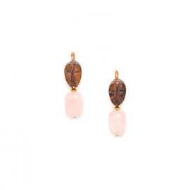 boucles d'oreilles dorées quartz rose et bois Yoruba - Nature Bijoux