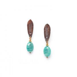boucles d'oreilles dorées amazonite et bois Yoruba - Nature Bijoux