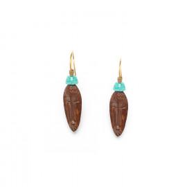 wood earrings with amazonite bead Yoruba - Nature Bijoux