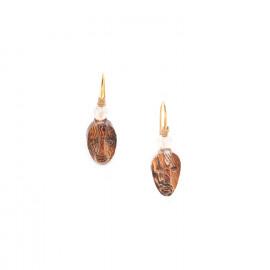 wood earrings with pink quartz bead Yoruba - Nature Bijoux