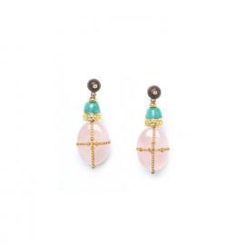 earrings pink quartz amazonite and golden chain Yoruba - Nature Bijoux