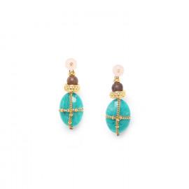 amazonite earrings with golden chain and pink quartz top Yoruba - Nature Bijoux