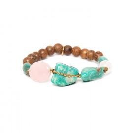 bracelet extensible amazonite chaine dorée et quartz rose Yoruba - Nature Bijoux