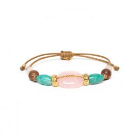 bracelet macramé quartz rose amazonite Yoruba - Nature Bijoux