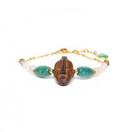 bracelet doré bois amazonite quartz rose Yoruba - Nature Bijoux
