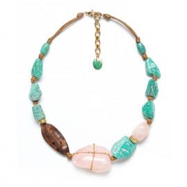 collier court doré quartz rose amazonite et bois Yoruba - Nature Bijoux