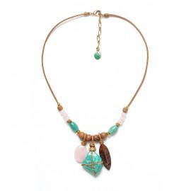 cord necklace 3 pendants amazonite pink quartz and wood Yoruba - Nature Bijoux