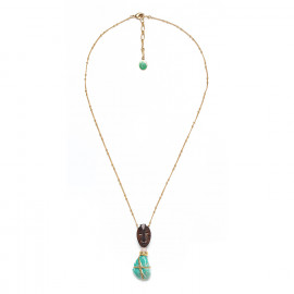 long golden necklace amazonite and wood Yoruba - Nature Bijoux