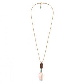 collier long doré quartz rose et bois Yoruba - Nature Bijoux