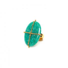 amazonite golden ring Yoruba - Nature Bijoux