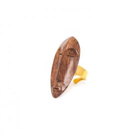 bague dorée bois Yoruba - Nature Bijoux