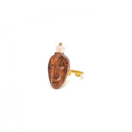 bague dorée bois perle quartz rose Yoruba - Nature Bijoux