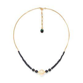 citrine round bead necklace Wild leaves - Nature Bijoux