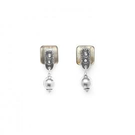boucles d'oreilles poussoir perle métal El gaucho - Ori Tao