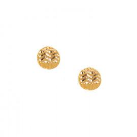 boucles d'oreilles poussoir doré 18K Swahili - Ori Tao