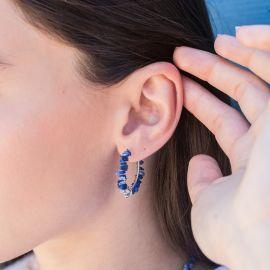 boucles d'oreilles créoles lapis lazuli argentées - Olivolga Bijoux
