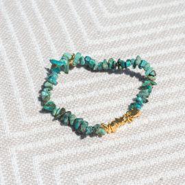 bracelet extensible turquoise pépites dorées à l'or fin - Olivolga Bijoux