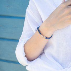 bracelet extensible lapiz lazuli pépites argentées. - Olivolga Bijoux