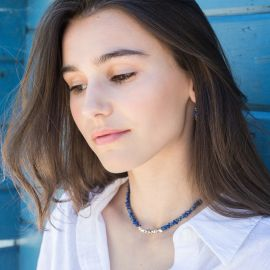 collier court lapiz lazuli pépites argentées. - Olivolga Bijoux