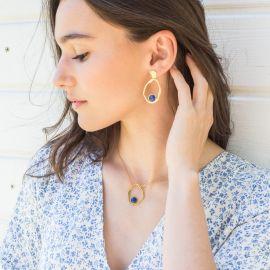 HARMONY boucles d'oreilles poussoir lapis lazuli Harmony - Olivolga Bijoux