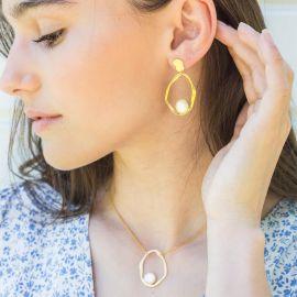HARMONY organic post earring white MOP Harmony - Olivolga Bijoux
