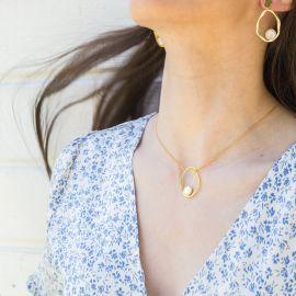 HARMONY collier pendentif nacre blanche Harmony - Olivolga Bijoux