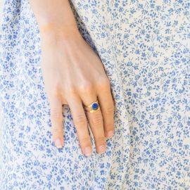 HARMONY organic ring cabs lapiz lazuli Harmony - Olivolga Bijoux