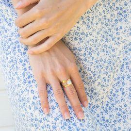 HARMONY organic ring cabs white mother of pearl Harmony - Olivolga Bijoux